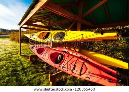 Red and yellow kayaks