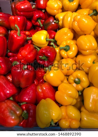 Red and yellow pepper, a perfect balanced