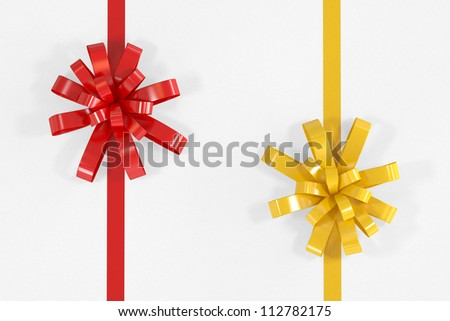 Red and Yellow Ribbon - Isolated on White Background