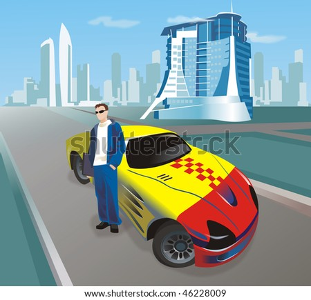 Red and yellow sports car on the road with man standing by the car