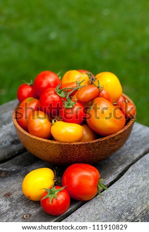 red and yellow tomatoes in a basket