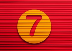 Red and yellow Vintage Stylish Alphabet Retro Typeface a to z number 7