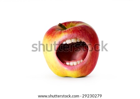 red angry apple with mouth and clipping path