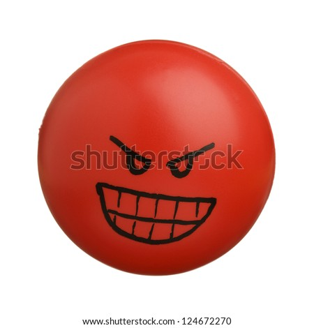 Red angry face ball isolated on white background