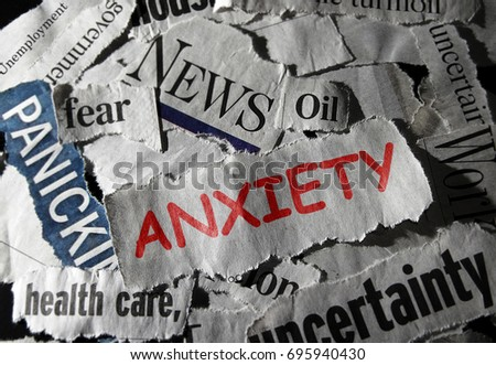 Red Anxious news headline with related newspaper topics #695940430