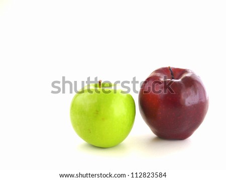 red apple and green apple isolated on white background