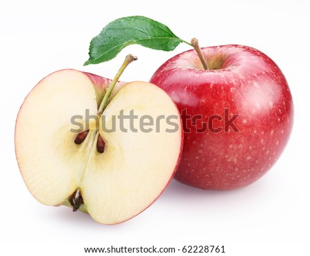 Red apple and half of red apple isolated on a white background.