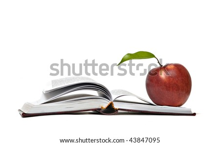 Red apple and open book