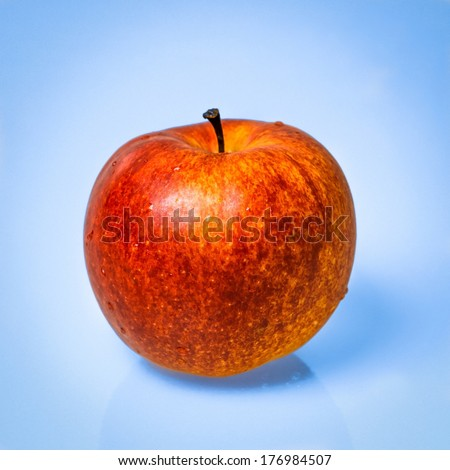 Red apple fruit against light blue background. Single object. Square format photography.