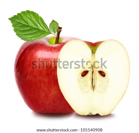 Red apple fruit with green leaf and half of apple isolated on white background