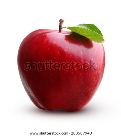 Red apple fruit with leaf isolated on white background Foto stock ©