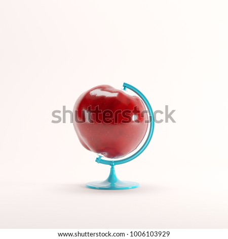 red apple global idea concept...