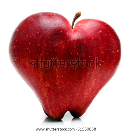 Red apple heart - symbol of healthy lifestyle. - stock photo