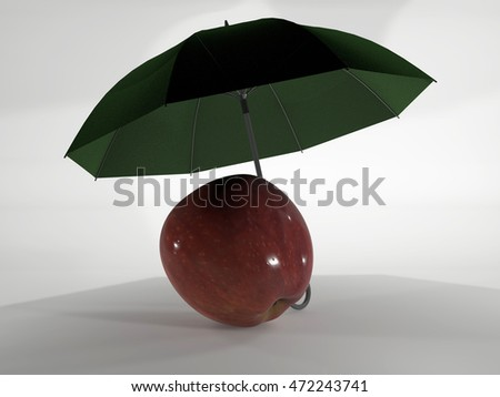 red apple image covered with a green umbrella on a white background, 3d rendering