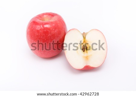 Red apple isolated against white background