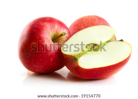 red apple isolated on the white