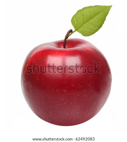 Red apple isolated on white background.