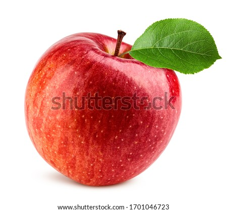 Red apple isolated on white background, clipping path, full depth of field