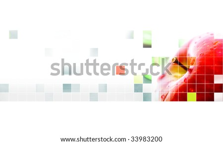 red apple mosaic over a white background
