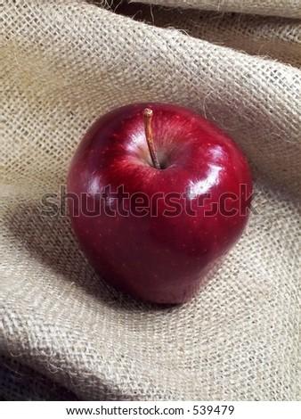 Red apple on burlap