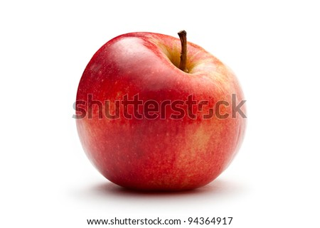 Red apple on the white