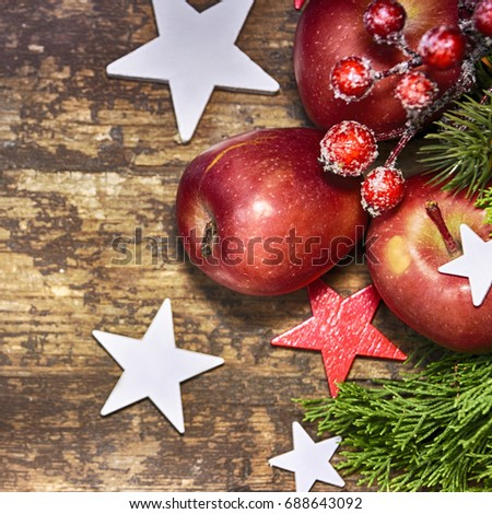 Red apple on the wooden background, Christmas holiday background