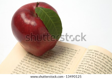 Red apple on top of a bible, opened on Adam & eve story