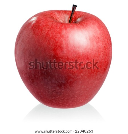 Red apple on white background (isolated).