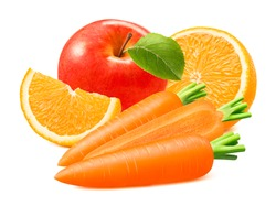 Red apple, orange and carrot isolated on white background. Vitamin mix. Package design element with clipping path