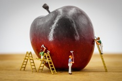 Red apple pained by painters miniature people