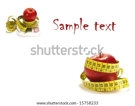 Red apple, scale and tape measure isolated