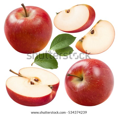 Red apple set 2 isolated on white background as package design element