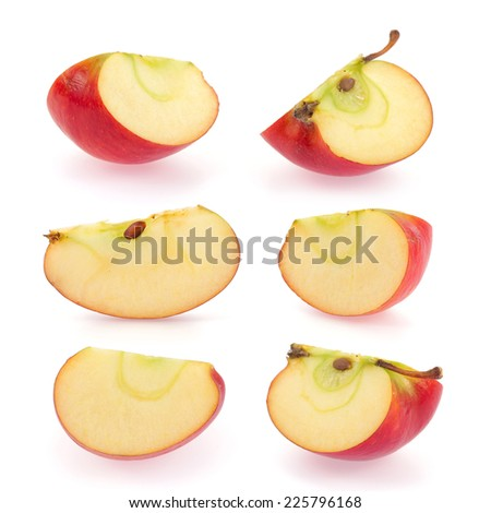 Red apple slice collection isolated on white background