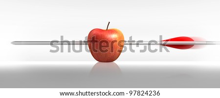 red apple struck by an arrow, the white background