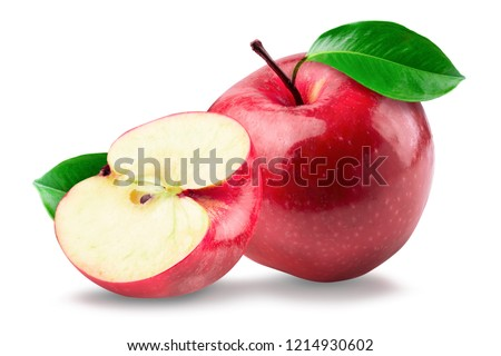 Red apple whole pieces isolated on white background.