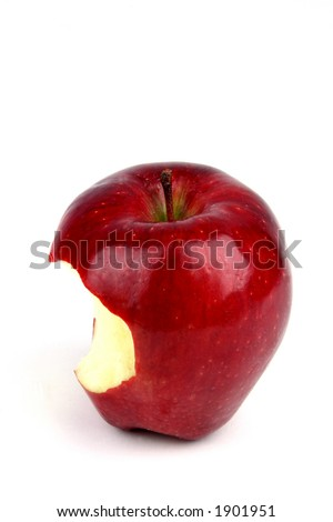 Red apple with a bite taken out of it on a white background - stock photo