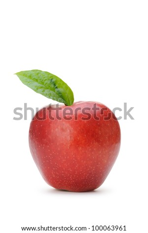 Red apple with a green leaf. Isolated on white background