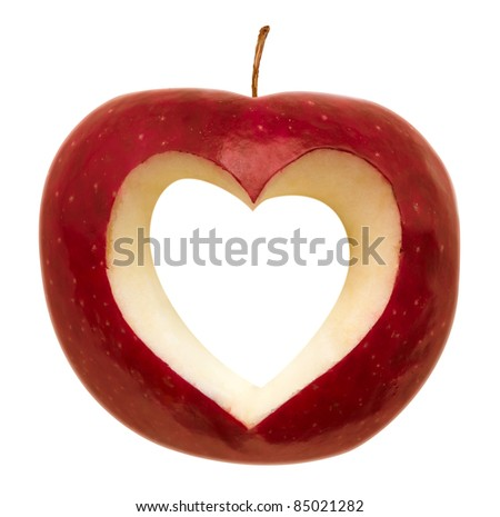 Red apple with a heart symbol isolated on white. Clipping path included. - stock photo