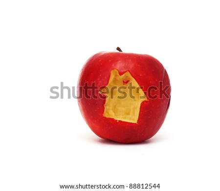 Red apple with a house symbol isolated on white