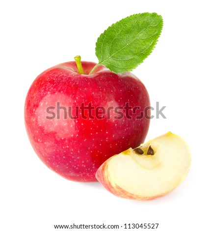red apple with a quarter and green leaf isolated on white background