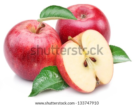 Red apple with apple leaf and slice on a white background.