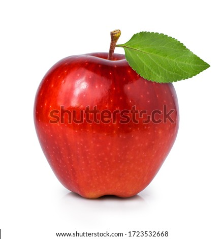 red apple with apple leaf isolated on white background