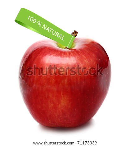 Red apple with fabric label 100% natural, isolated.