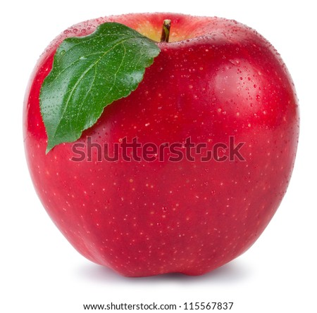 Red apple with green leaf and drops of water isolated on white background