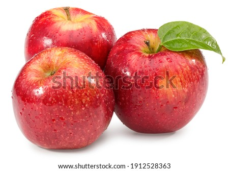 red apple with green leaf isolated on white background. clipping path. Foto stock ©