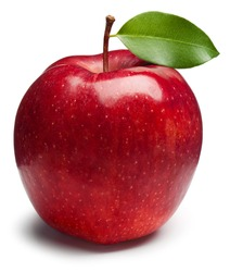 Red Apple with green leaf on white. This file is cleaned, retouched and contains clipping path.