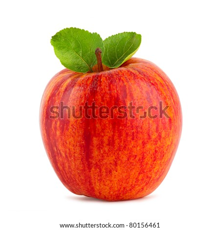 red apple with green leafs on white background