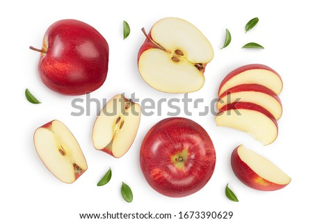 Photo of  Red apple with half isolated on white background with clipping path and full depth of field. Top view. Flat lay. Set or collection