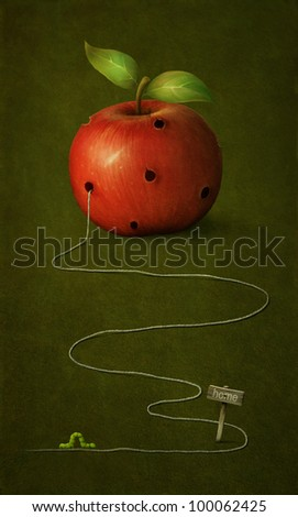 Red apple with holes for  caterpillars. Illustration or  postcard. Computer Graphics.