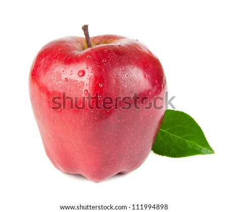 Red apple  with leaf. Isolated on white background
